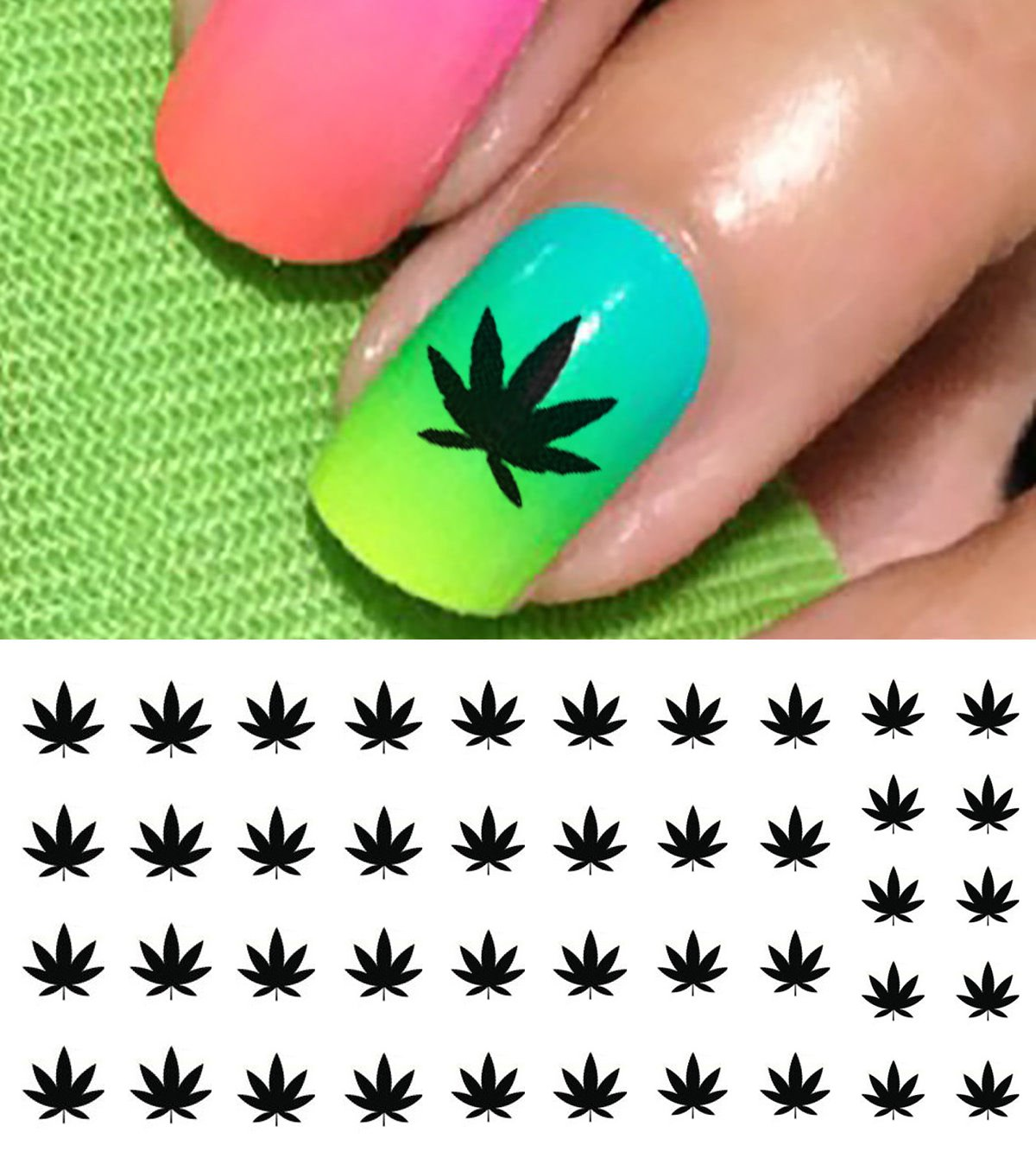 Amazon Marijuana Pot Leaf Water Slide Nail Art Decals Set 2