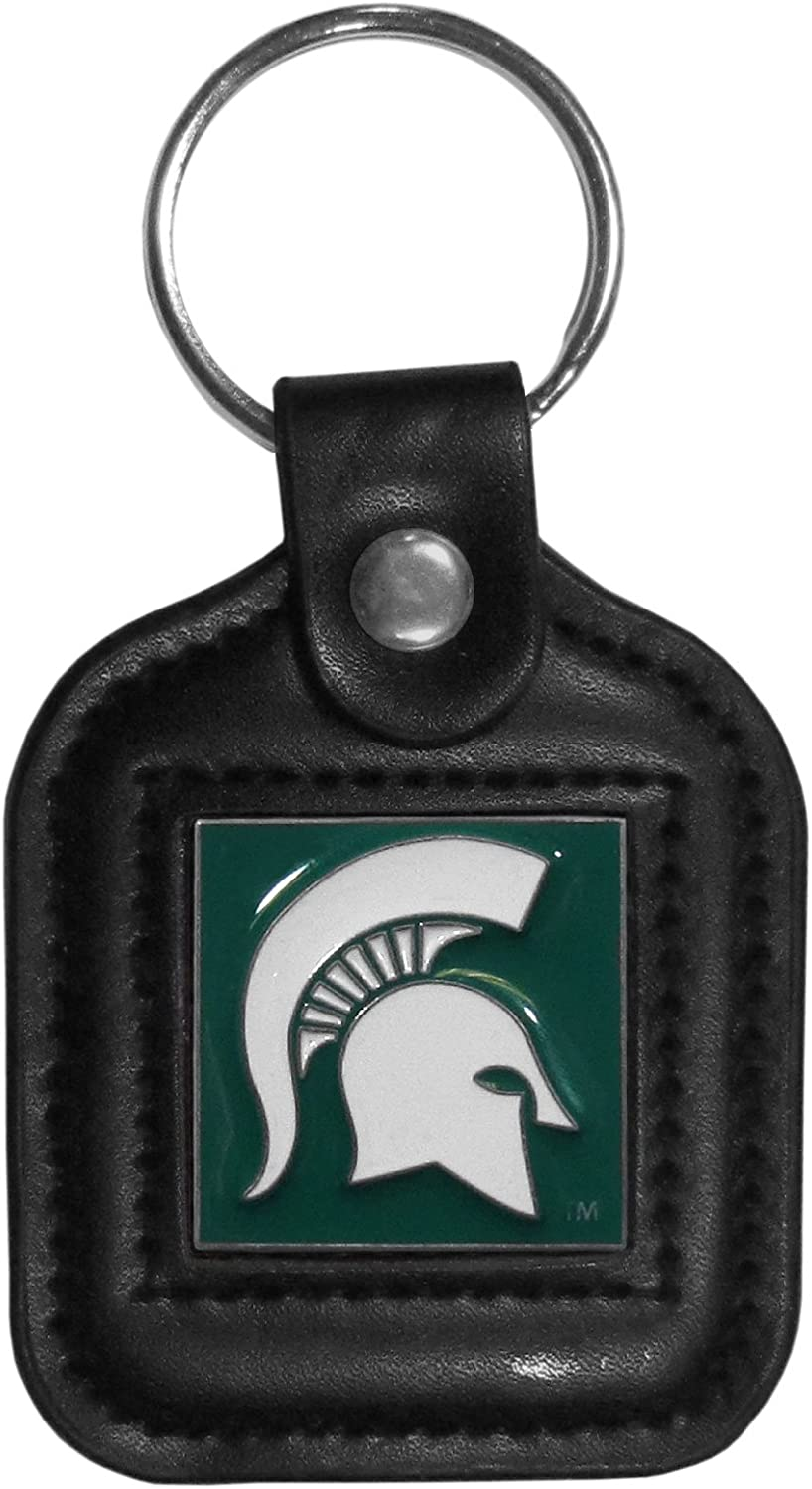 NCAA Siskiyou Sports Fan Shop Michigan State Spartans Square Leather Key Chain One Size Black : Sports & Outdoors