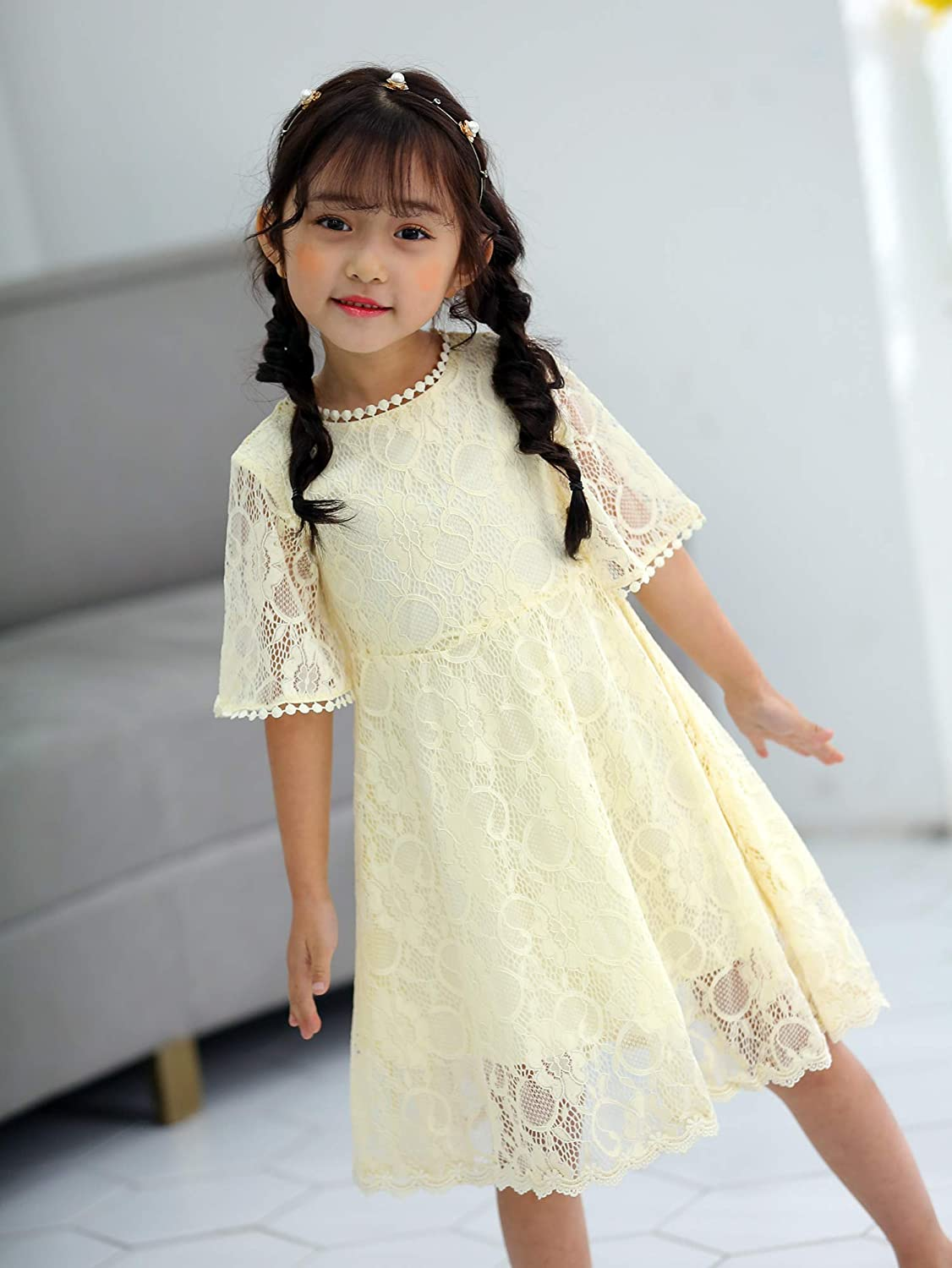 Youwon Flower Girl Lace Dress Baptism Wedding Pageant Gown First Communion Country Dress 2-6 7-16