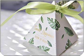 Nueva boda caja de regalo pirámide triangular verde favorece las cajas de dulces flor impresa floral de fiesta de la caja Caja de regalo de los sorteos, oliva, 100 piezas, 7X7X8Cm: Amazon.es: