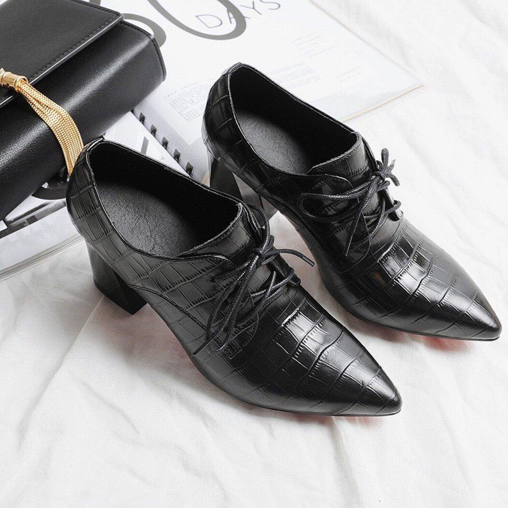 DIDIDD Woherren Spring Stöckelschuhe mit Hohen Mund Absätzen Schuhe Tiefen Spitzen Mund Hohen Elegante Hochhackige Damenschuhe Schwarz 35 1bdebc