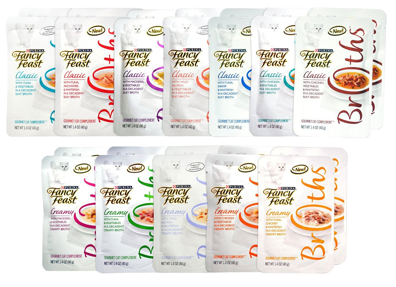 Fancy Feast Gourmet Broths Variety Pack (24 Pouches) for Cats - 12 Different Flavors - 1.4 Oz Each (2 of Each Flavor - 24 Total Pouches)