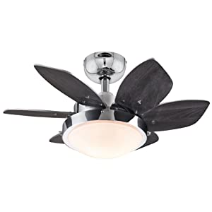 Westinghouse 7863100 Quince 24-Inch Chrome Indoor Ceiling Fan, Light Kit with Opal Frosted Glass