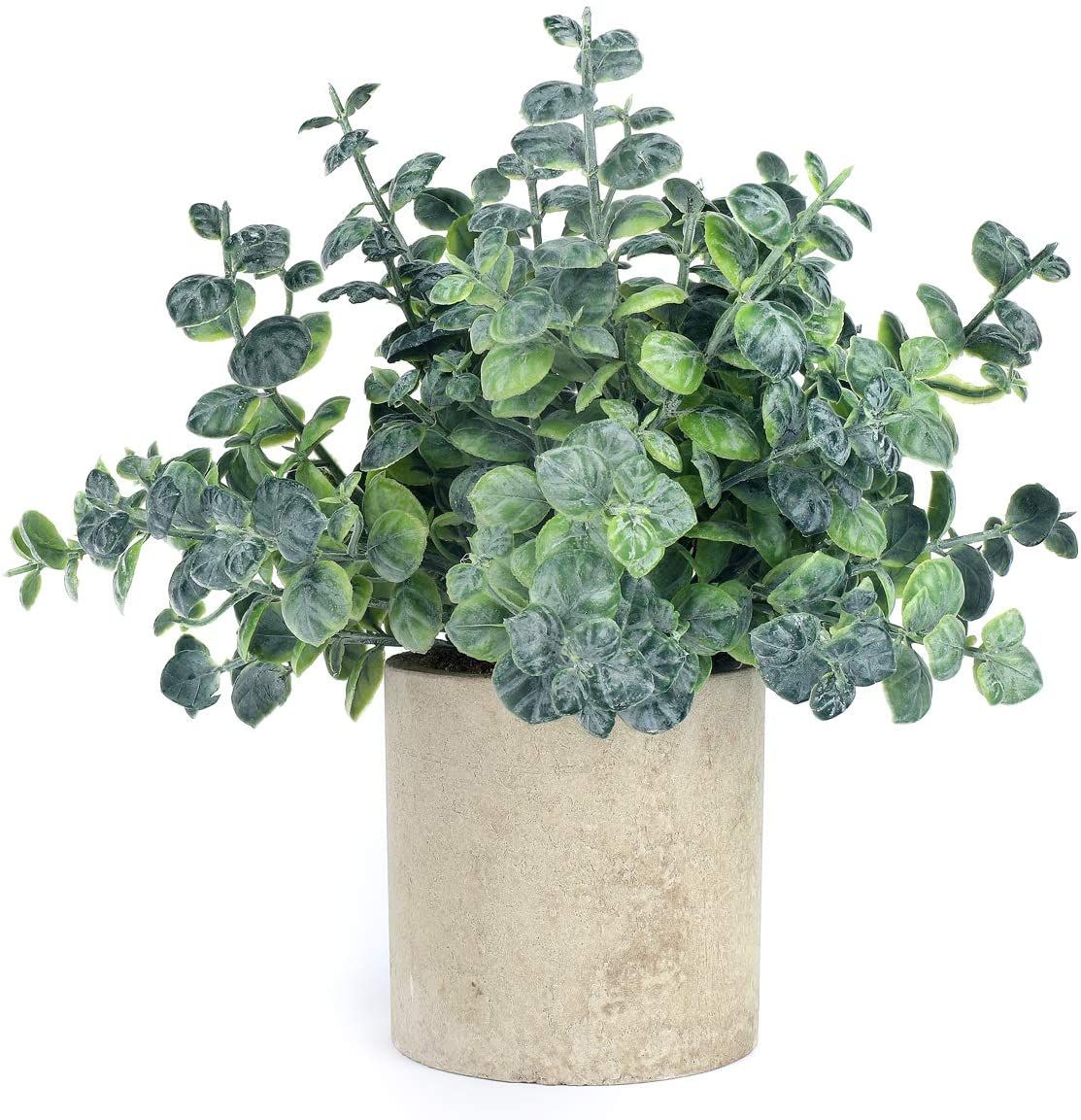iFLOVE Small Fake Plastic Plant Artificial Eucalyptus Potted Plant Look Real Greenery Decor Home Office Desk(Grey Green)