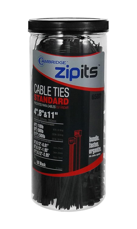 Cambridge ZipIts 650 Pcs Assortment 4 8 11 Nylon Cable Ties Kit UV Black