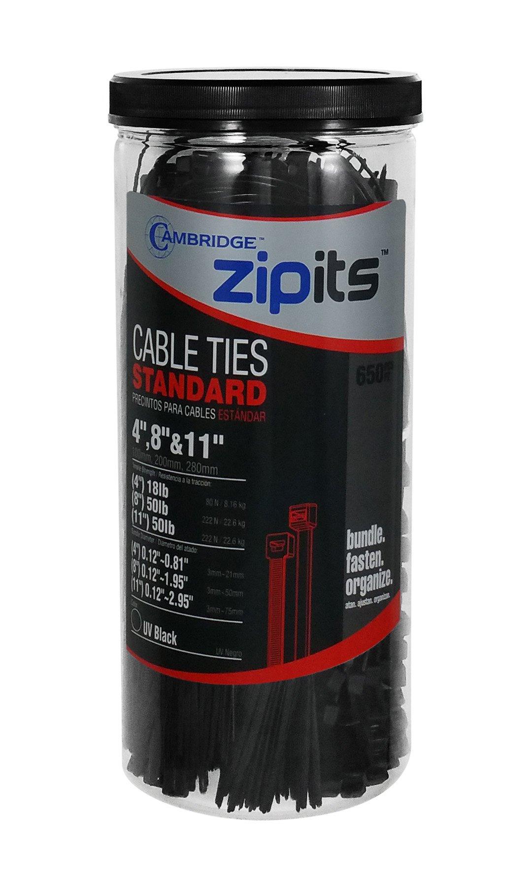 Cambridge ZipIts 650 Pcs Assortment -4'', 8'' & 11'' Nylon Cable Ties Kit- UV Black