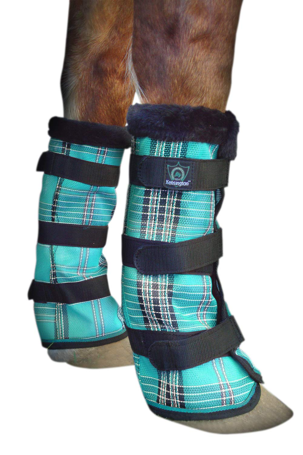 Kensington Non Collapsing Draft Horse Fly Boots with Comfortable Fleece Trim - Stay-Up Technology - Protection from Insect Bites and UV Rays - Sold in Pairs of 2