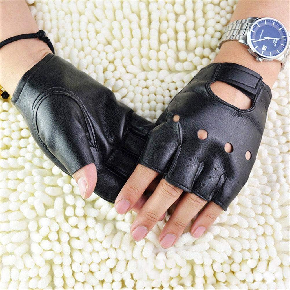 Mode Schwarz Punk Handschuhe F/ür Radfahren Fahren Fitness Leistung Tanz Brownrolly 2 ST/ÜCKE Unisex Leder Fingerlose Handschuhe