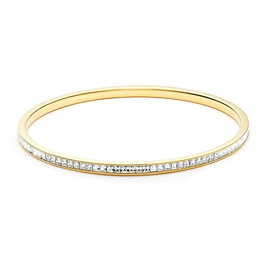 MYJS Magic Eternity Gold Plated Swarovski Square Crystal Ready Bangle JojC8i