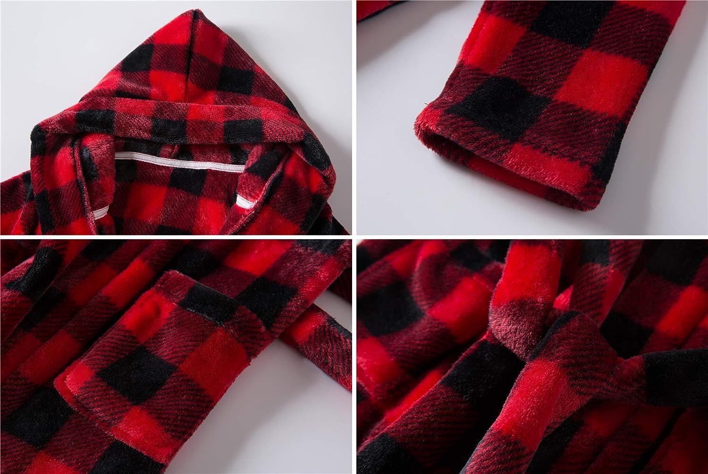 Umeyda Girls Soft Flannel Bathrobes with Hair Dry Hat 2-12 Years