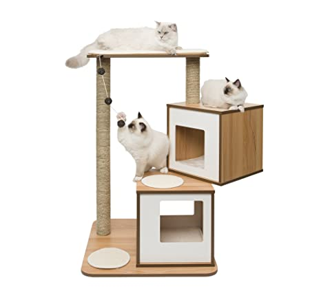 Vesper Mueble Rascador para Gatos V-Doble, Color Blanco