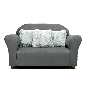 Keet Plush Childrens Sofa with Accent Pillows, Charcoal/Grey