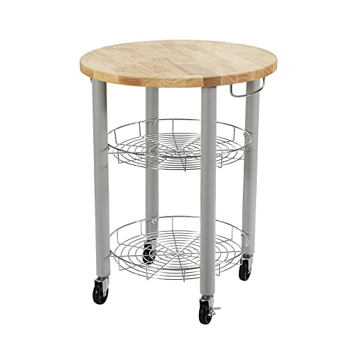 Dorel Living Lulu Round Kitchen Cart, Gray