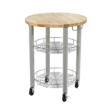Dorel Living Lulu Round Kitchen Cart, Gray