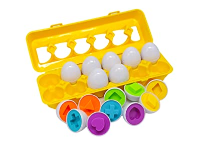 Color & Shape Matching Egg Set,Educational Train Color & Shape Recognition  Skills,Learning Color & Shape Match,Montessori Toys for Age 2+ Kids