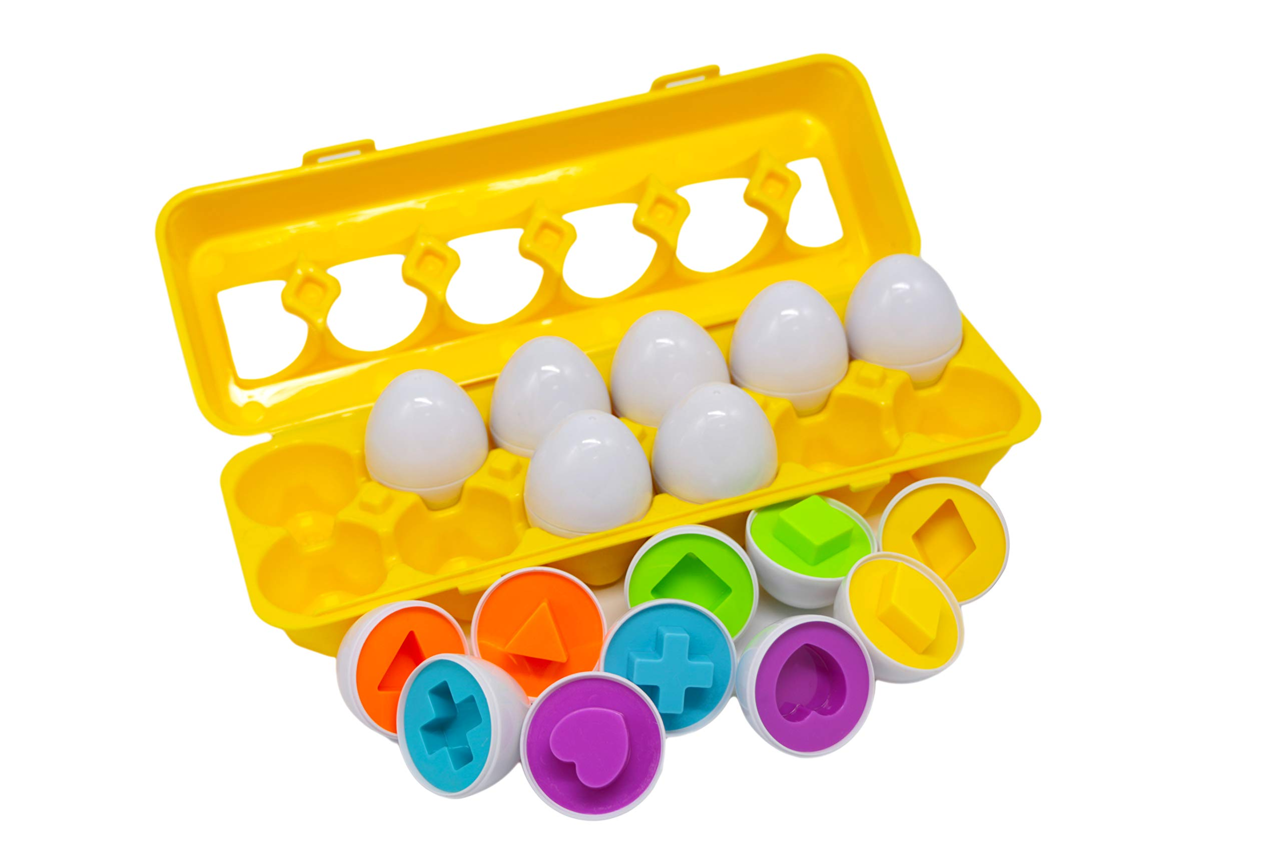 Color & Shape Matching Egg Set,Educational Train Color & Shape Recognition Skills,Learning Color & Shape Match,Montessori Toys for Age 2+ Kids Toddlers Boys Girls