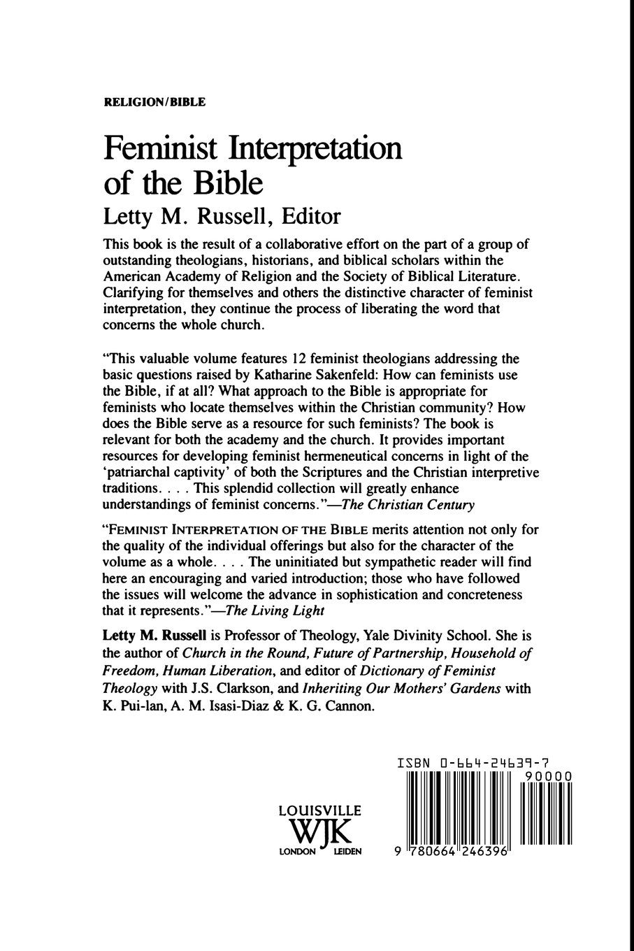 feminist interpretation of the bible letty m russell feminist interpretation of the bible letty m russell 9780664246396 com books
