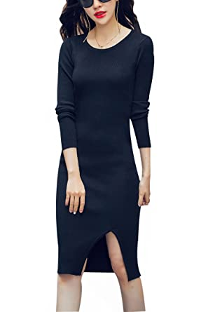 5d44a8abe43e Yeokou Women s Sexy Tight Long Sleeve Knit Maxi Sweater Dress Knee Length  (One Size