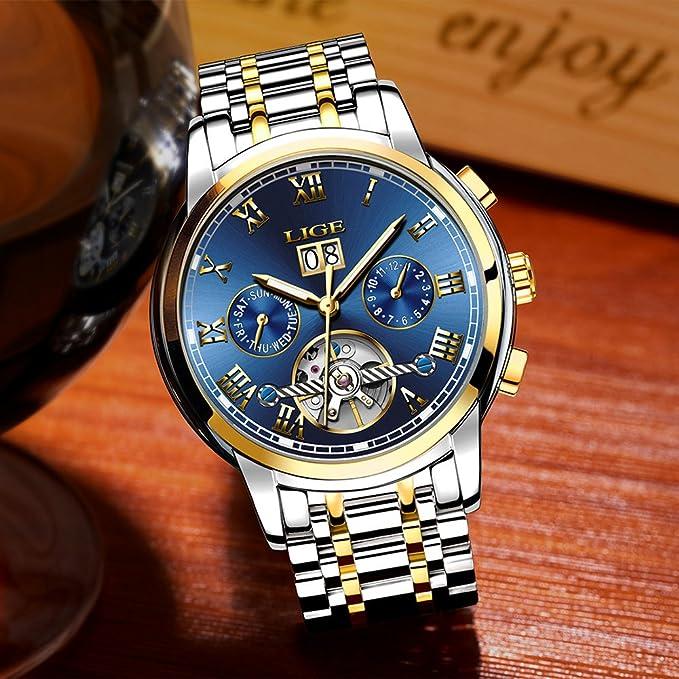 Reloj de pulsera para hombre de LIGE, mecánico automático, reloj de lujo, de acero inoxidable, de alta calidad, con fecha, tipo tourbillon, ...