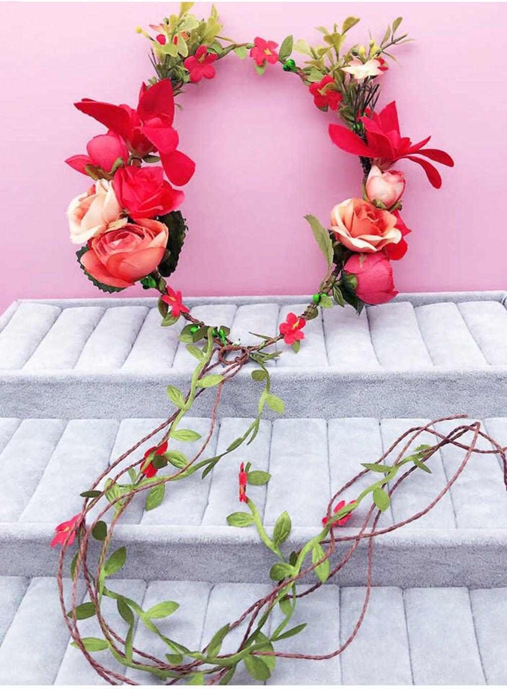 Wreath Flower, Headband Flower Garland Handmade Wedding Bride Party Ribbon Headband Wristband Hairband Red (Color : A)