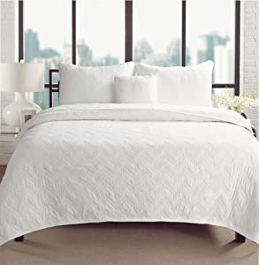 Cozy Line Home Fashions Chevron Zig Zag Solid White 100% Cotton Bedding Quilt Set, Reversible Coverlet, Bedspread for Bedroom Guestroom (Chevron - White, Queen - 3 Piece)