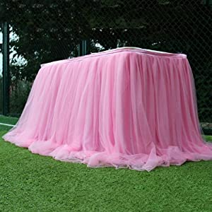 REQU Tulle Table Skirt Fluffy Tutu Table Skirt Table Tulle Table Skirting for Party Wedding Birthday Party&Home Decoration(Pink)