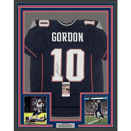 quality design 8ec9f e54b3 Framed Autographed/Signed Josh Gordon 33x42 New England Blue ...