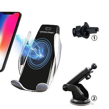 Despert Cargador de Coche inalámbrico, Qi Cargador inalámbrico rápido para iPhone XS/8/8 Plus/Galaxy S9/S8/Note5 (Plata)