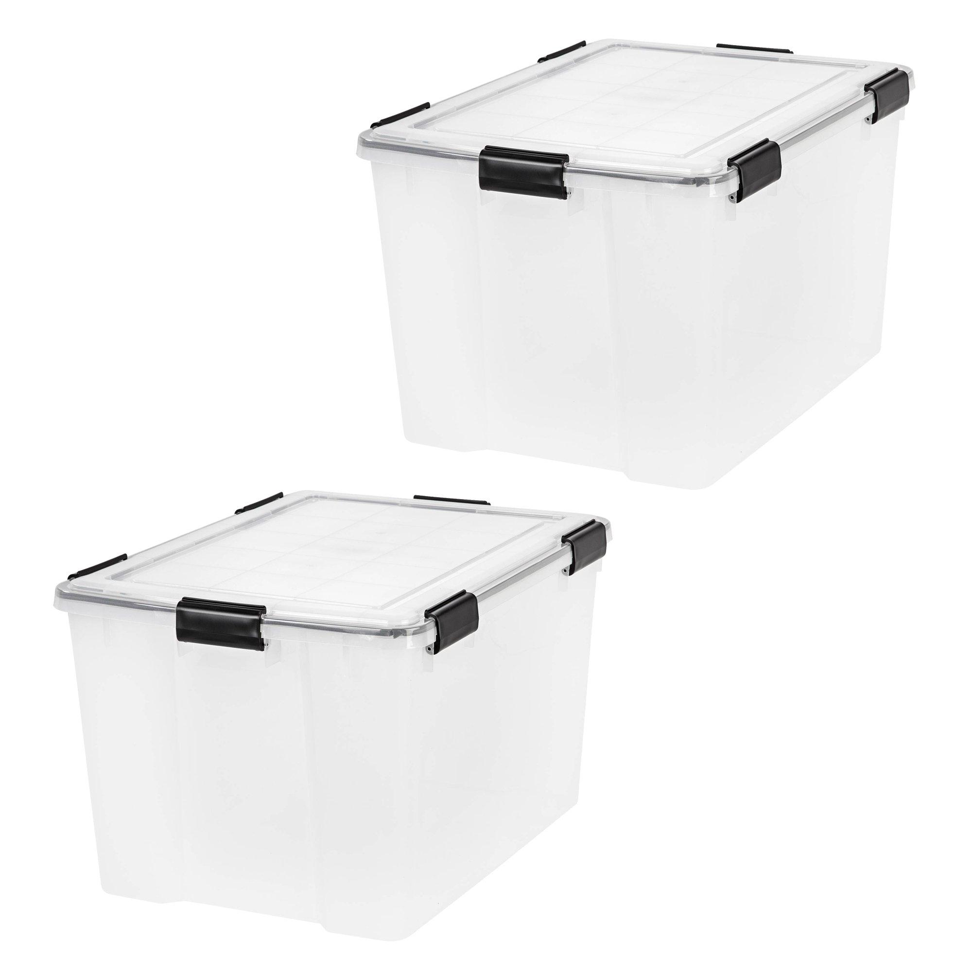 IRIS 74 Quart WEATHERTIGHT Storage Box, Clear, 2-Pack