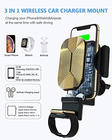 3 in 1 Wireless Charging Car Charger Mount, Newest Auto Clamping Car Vent Phone Holder Qi QC 3.0 Car Chargers 10W 7.5W Fast Charging for Phone, Air Pods Watch,with QC3.0 Car Charger Adapter