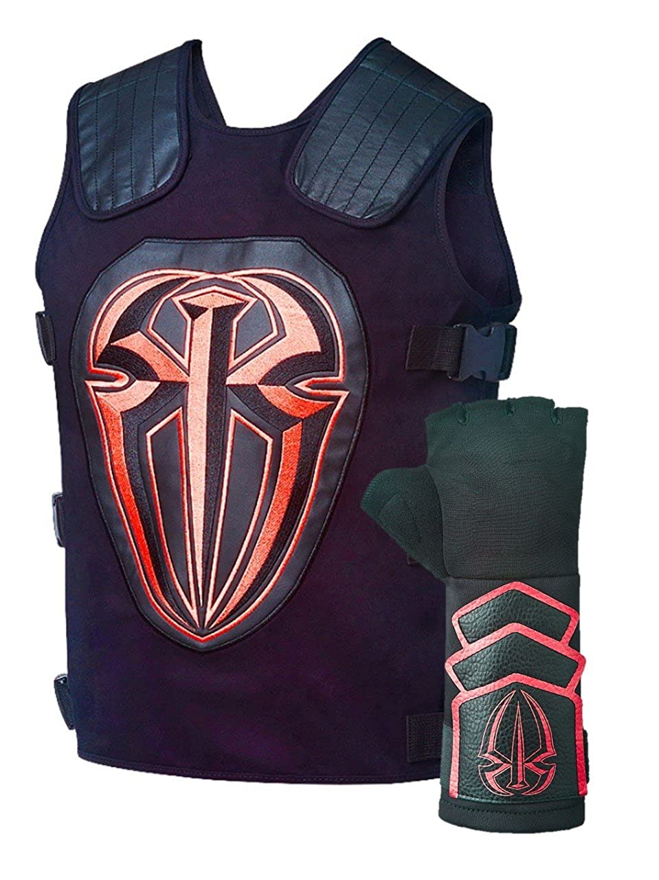 05fc910ba8271 Amazon.com  Roman Reigns Tactical Replica Vest Superman Punch Glove Costume-Black   Clothing