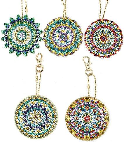 5pcs DIY Full Drill Diamond Paintng Special Shape Mandala Pattern Key Chain Kits
