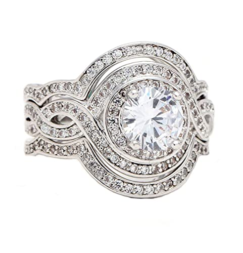 Barbara Halo Pave 3 piezas Juego de anillos de compromiso ...