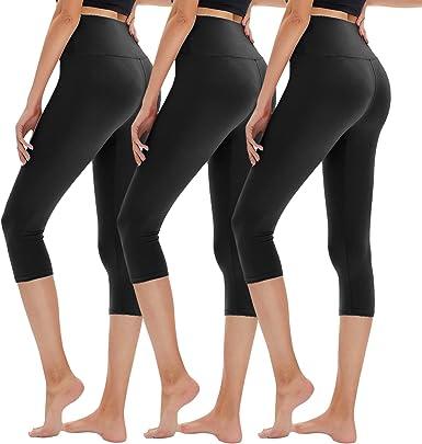 Womens 3//4 Length Capri Trousers Stretch Yoga Sports Gym Cropped Pants Leggings