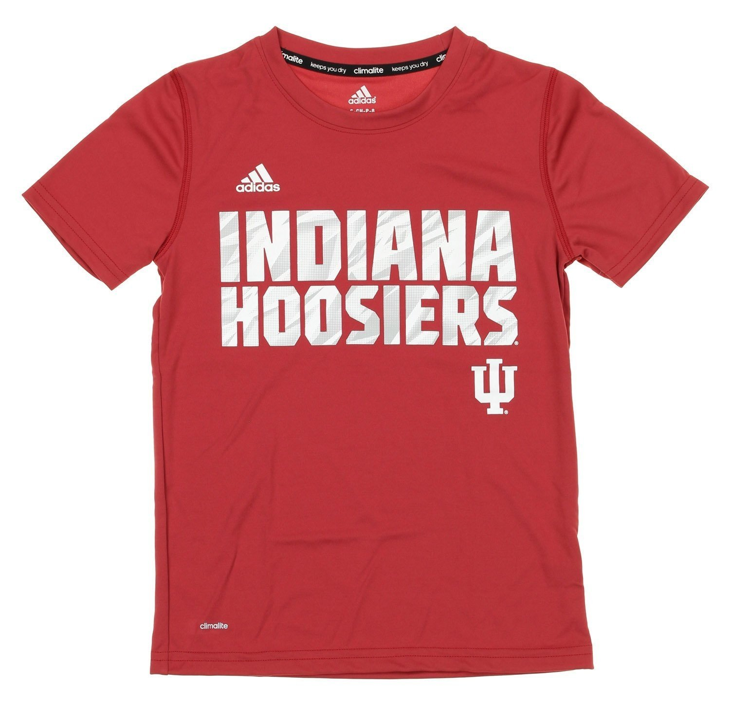 Indiana Hoosiers Adidas Youth White//Red Climalite Performance Shirt