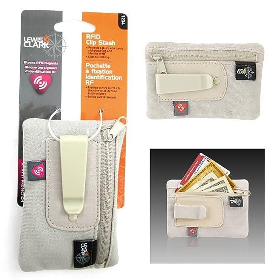 64af83c6f48a RFID Clip On Stash Pouch Wallet Travel Safe Security Id Holder Lewis N  Clark Tan