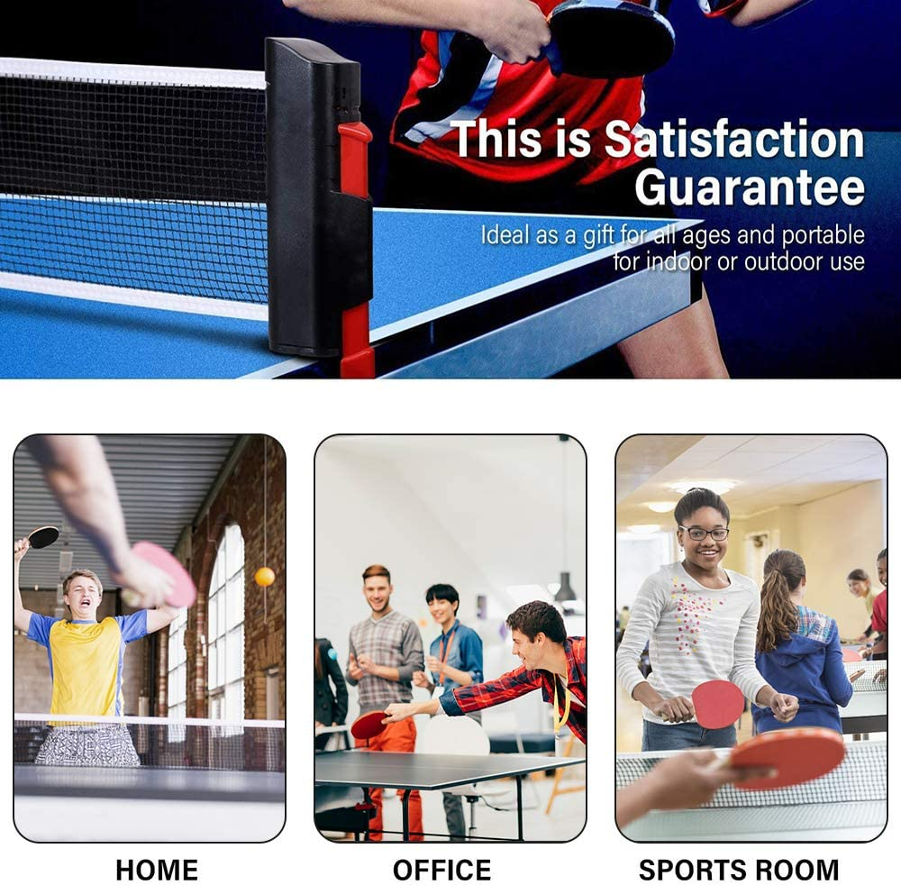 FBSPORT Ping Pong Paddle Set, Portable Table Tennis Set with Retractable Net, 2 Rackets, 6 Balls and Carry Bag for Children Adult Indoor/Outdoor Games, Black : Sports & Outdoors
