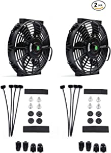 (Pack of 2) Engine Radiator Cooling Fan 10 Inch Curved Blade Ultra Thin Universal High Performance 12V 80W Motor,Radiator fan With Fan Mounting Kit(Puller and Pusher Design)