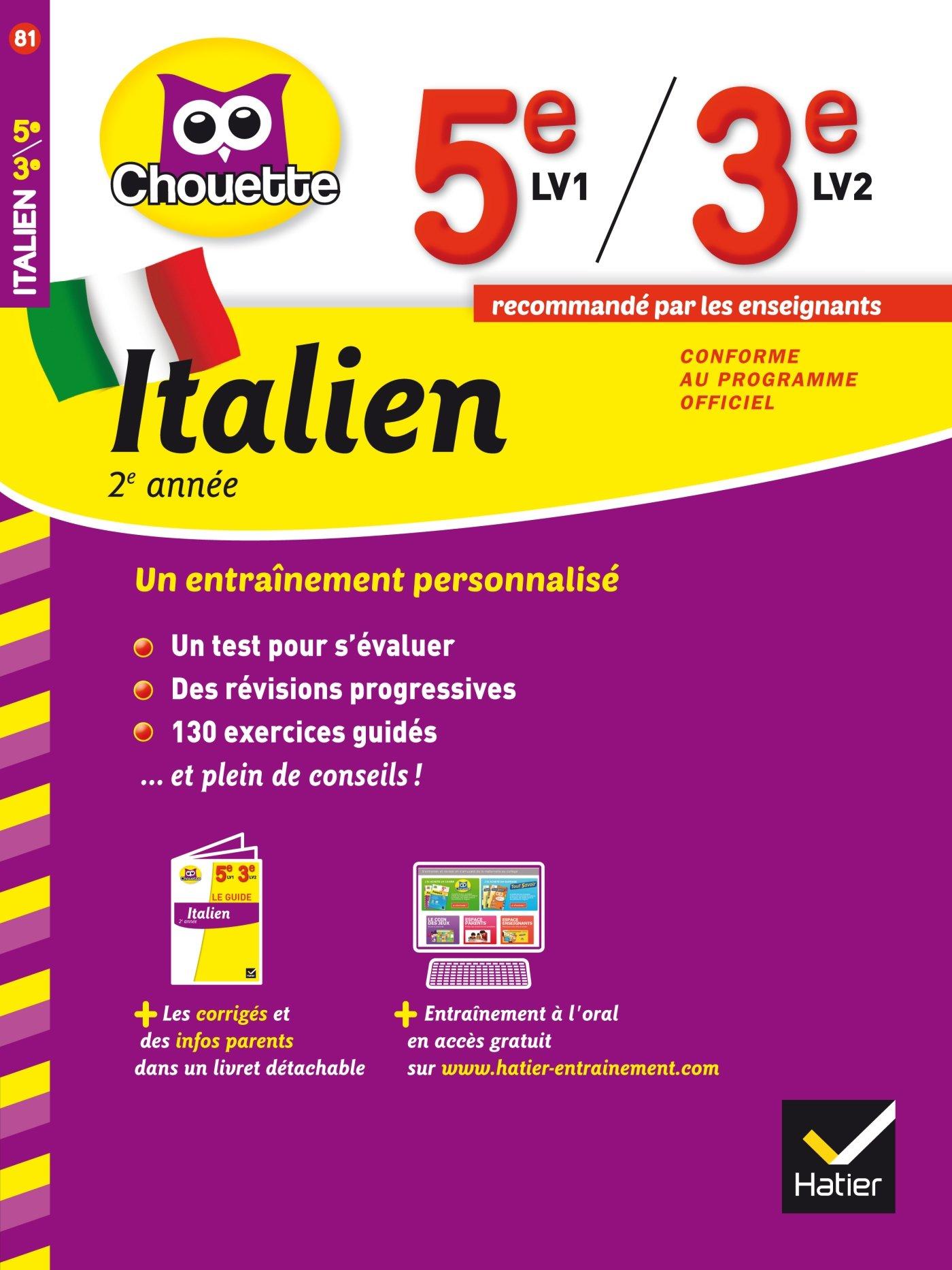 Amazon Fr Italien 2e Annee 5e Lv1 3e Lv2 Cahier De