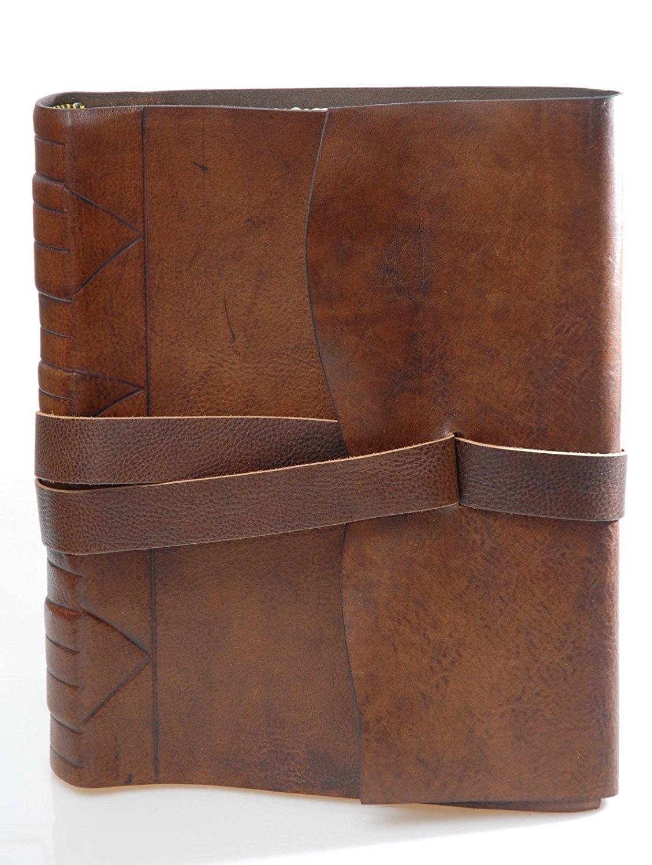 mastri librai eugubini piel – Álbum fotos piel eugubini de becerro tamponata a mano con cierre de cordón, tamaño: 23 x 30 cm 77314a