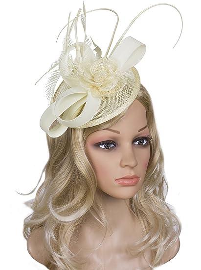 Vijiv Women Vintage Derby Fascinator Hat Pillbox Headband Feather Cocktail  Tea Party 3107fc2f4e64