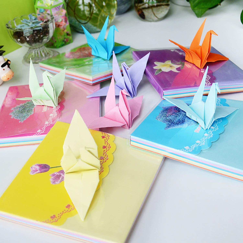 1820 Sheets Wartoon Heart Printing Heart Origami Stars Paper and Luminous Heart Paper Set