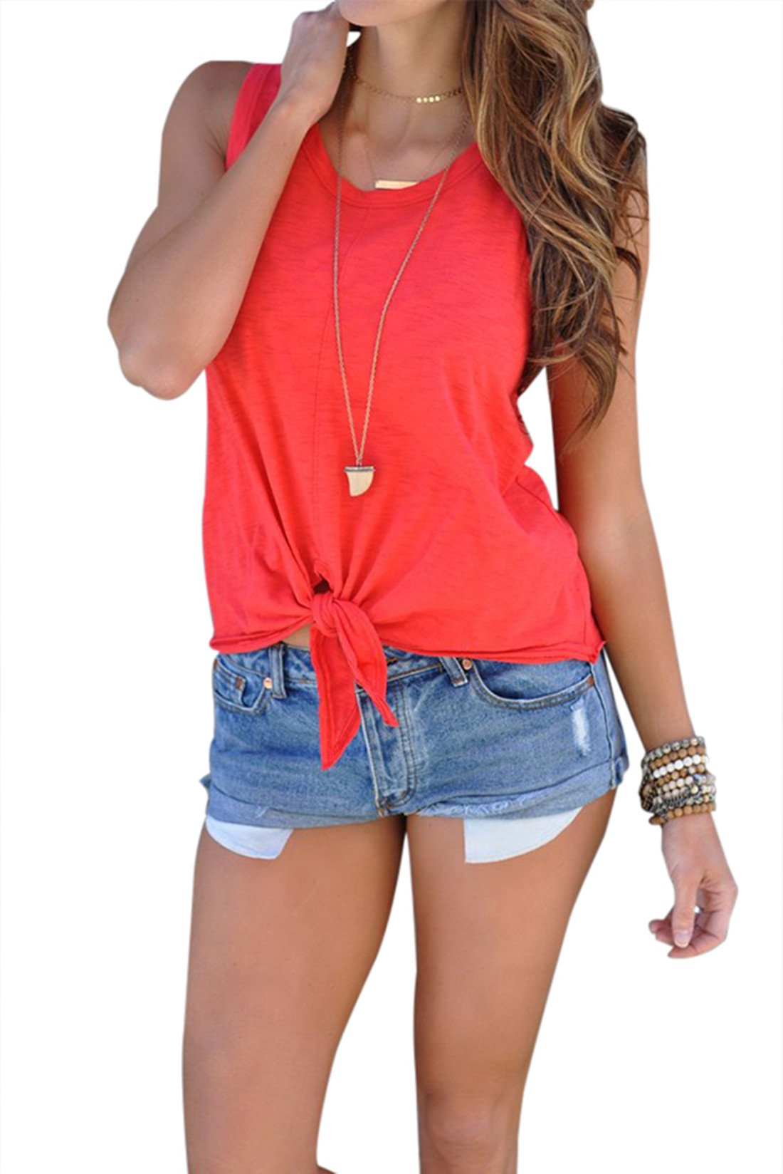 Astylish Women's Sleeveless Shirt Summer Blouse Tie Front Casual Tank Tops Red Medium 8 10