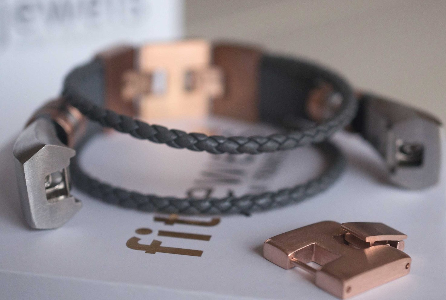 fitjewels Alta HR Bands - Aurel Leather Replacement Band, Available in Black, Brown, Gold, Silver and Grey (Grey-Rose Gold, M-XL (6.5-9 inch)) by fitjewels