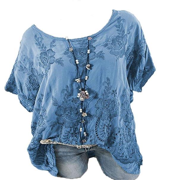 more photos 0d71e 675e5 Rolanscia Damen Blusen und Tuniken Damen Bluse Vausschnitt Oberteile Sommer  Blusenshirt Festliche Shirts Kurzarm Elegante Leichte Hohl