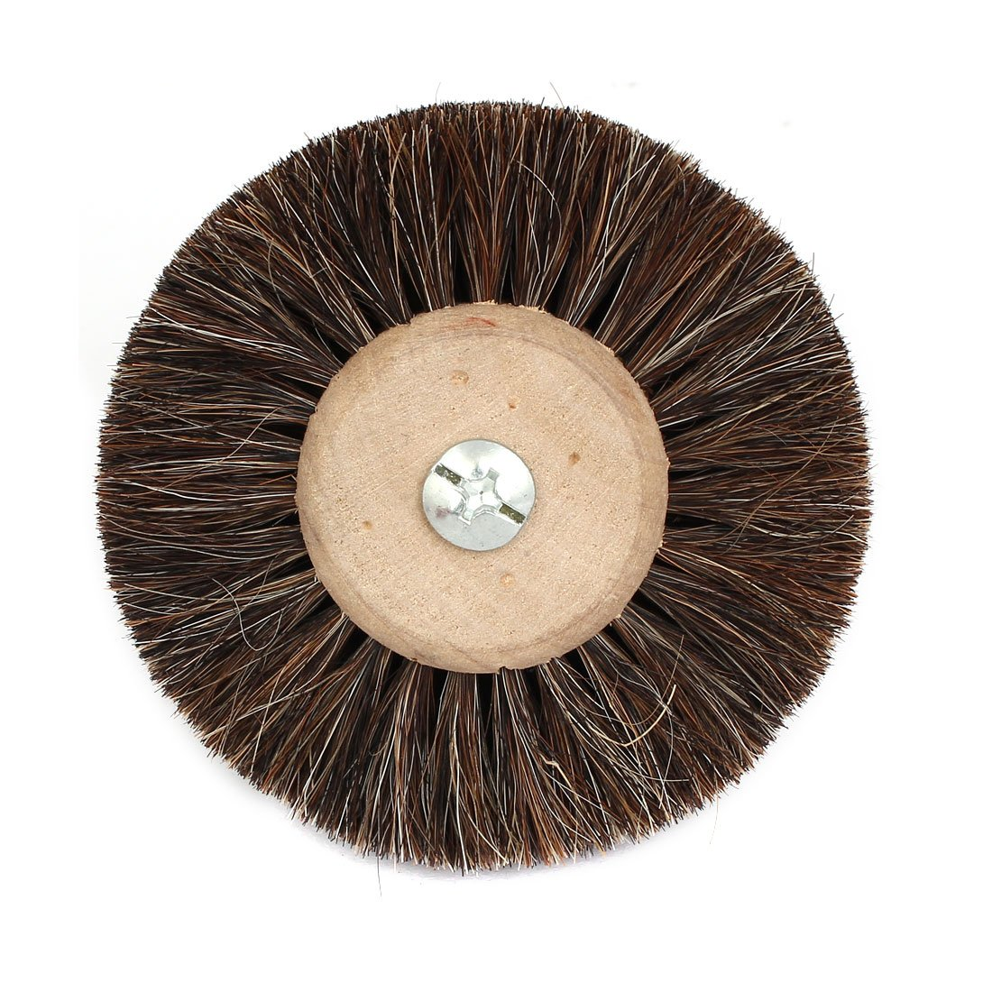 uxcell 80mm Dia 3mm Shank Wooden Hub Horse Imitated Hair Wheel Brush Jewelry Polishing Tool 2pcs a17030200ux0107