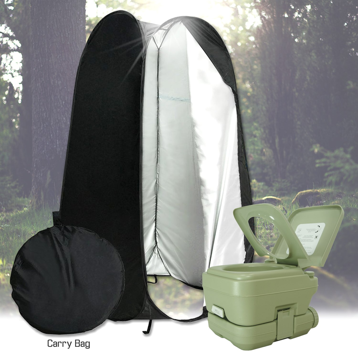 PARTYSAVING 2.6 Gallon Portable Potty and 6 Foot Privacy Instant Pop Up Tent for Outdoors Camping Boats Beach Park, APL1984