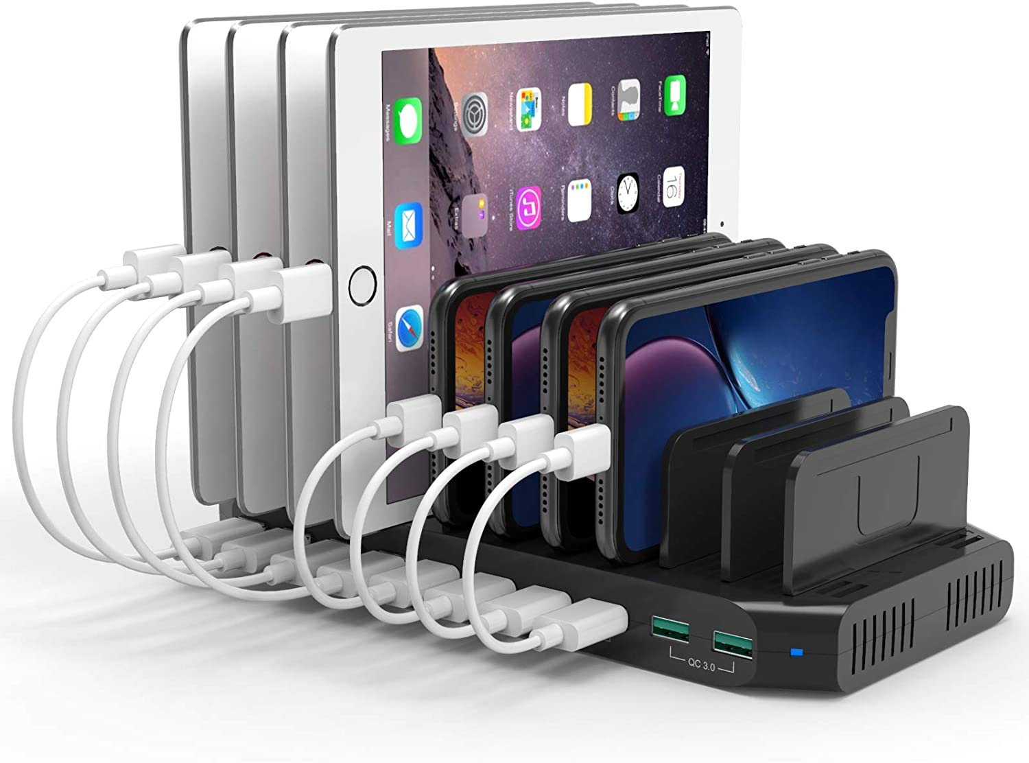 Alxum USB Charging Station 10 Port with 2 QC 3.0, Multi Fast Charging Dock Station for Multiple Devices, Organizer Stand with Detachable Dividers for Cell Phones, Tablets, and Other Electronics, Black