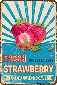 Fresh Strawberry Sweet & Tasty Locally Grown Farm Decor Iron Poster Painting Tin Sign Vintage Wall Decor for Cafe Bar Pub Home Beer Decoration Crafts
