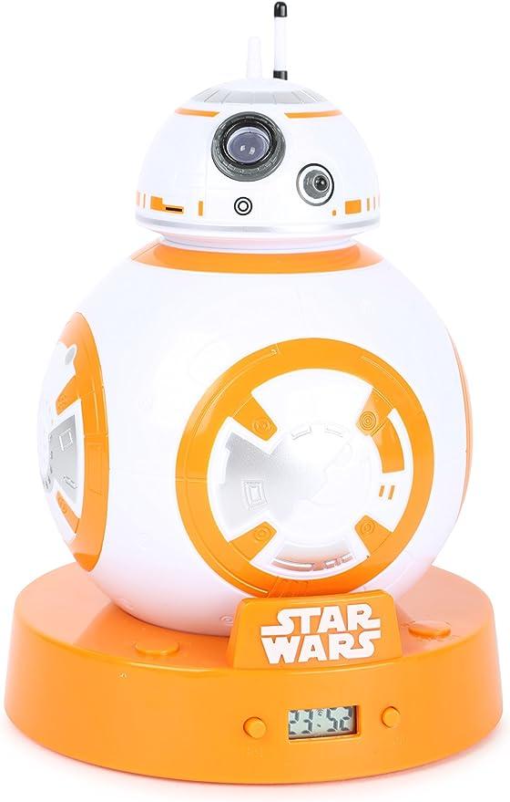 Joy Toy AG 10778 Réveil Projecteur Star Wars BB 8, Plastique, Multicolore, 10 x 10 x 18 cm